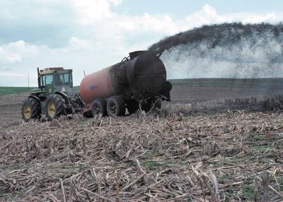 Manure tanker in field