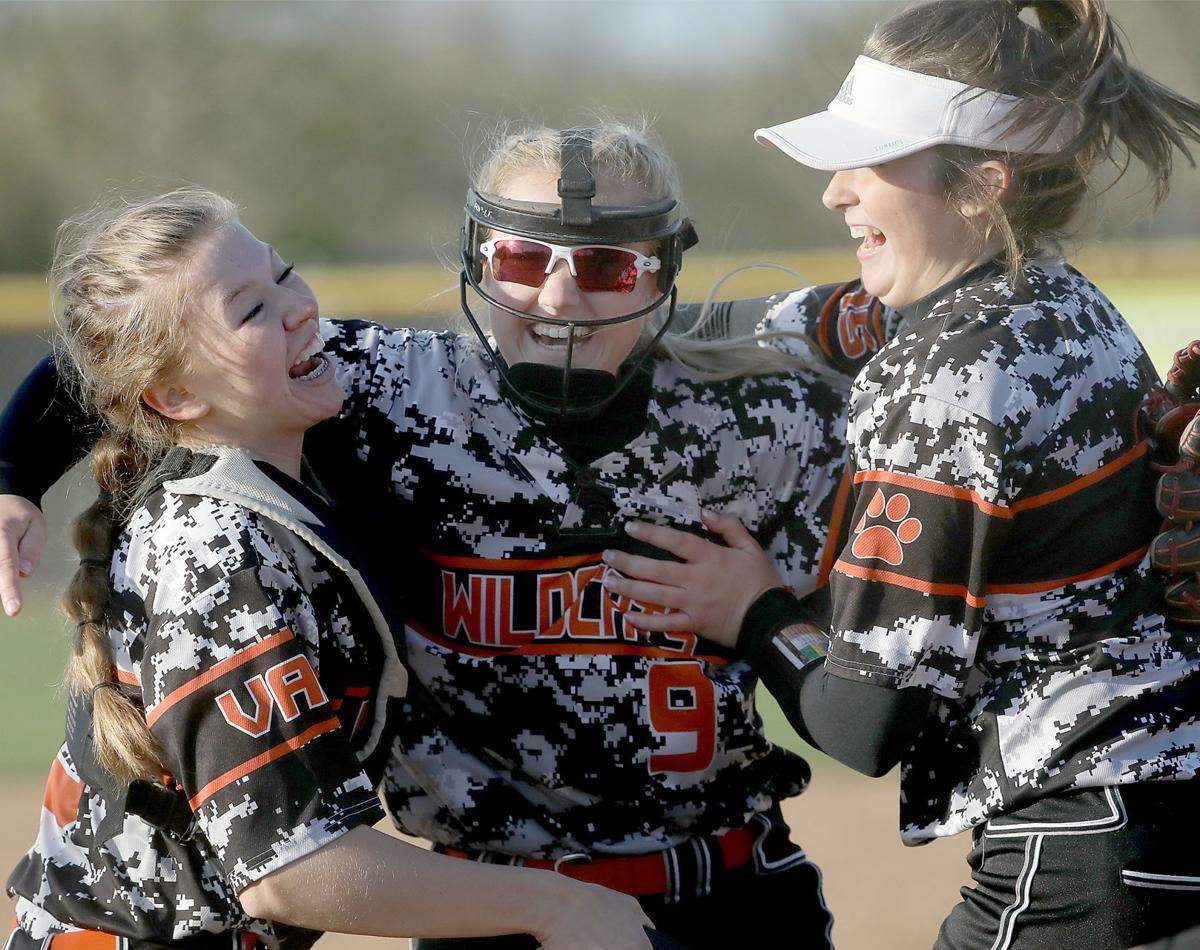 WIAA softball photo: Verona's Katie Pederson, Meghan Anderson and Maddie Patten