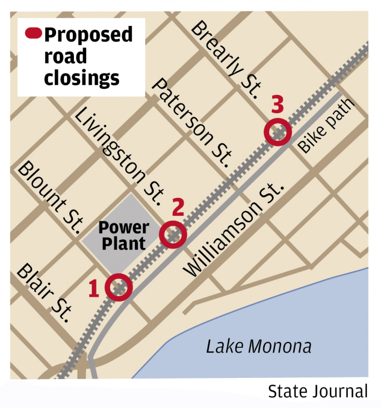 Proposed road closures for railroad crossings map