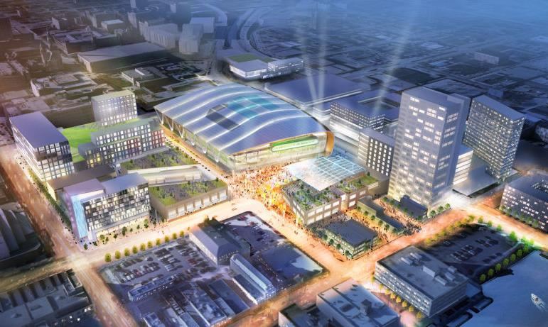 Aerial view, proposed entertainment district with new Milwaukee Bucks arena rendering