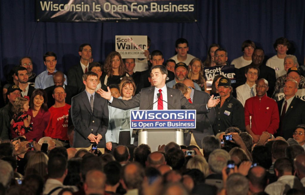 Scott Walker celebrates 1st election, AP photo