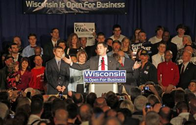 Scott Walker celebrates 1st election, AP photo
