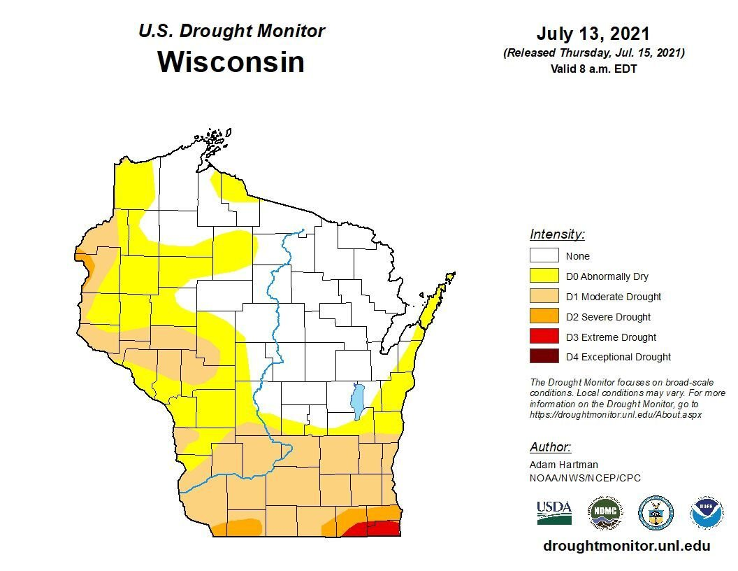 Wisconsin drought monitor as of 7-15-21