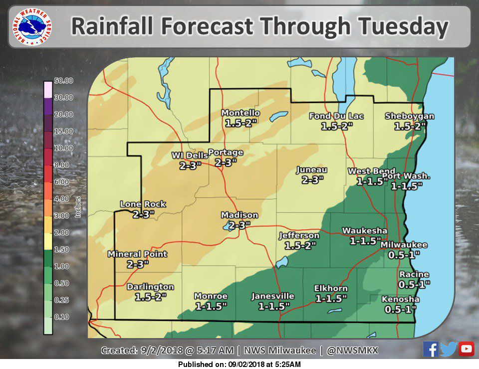 National Weather Service rain forecast graphic 9-2-18