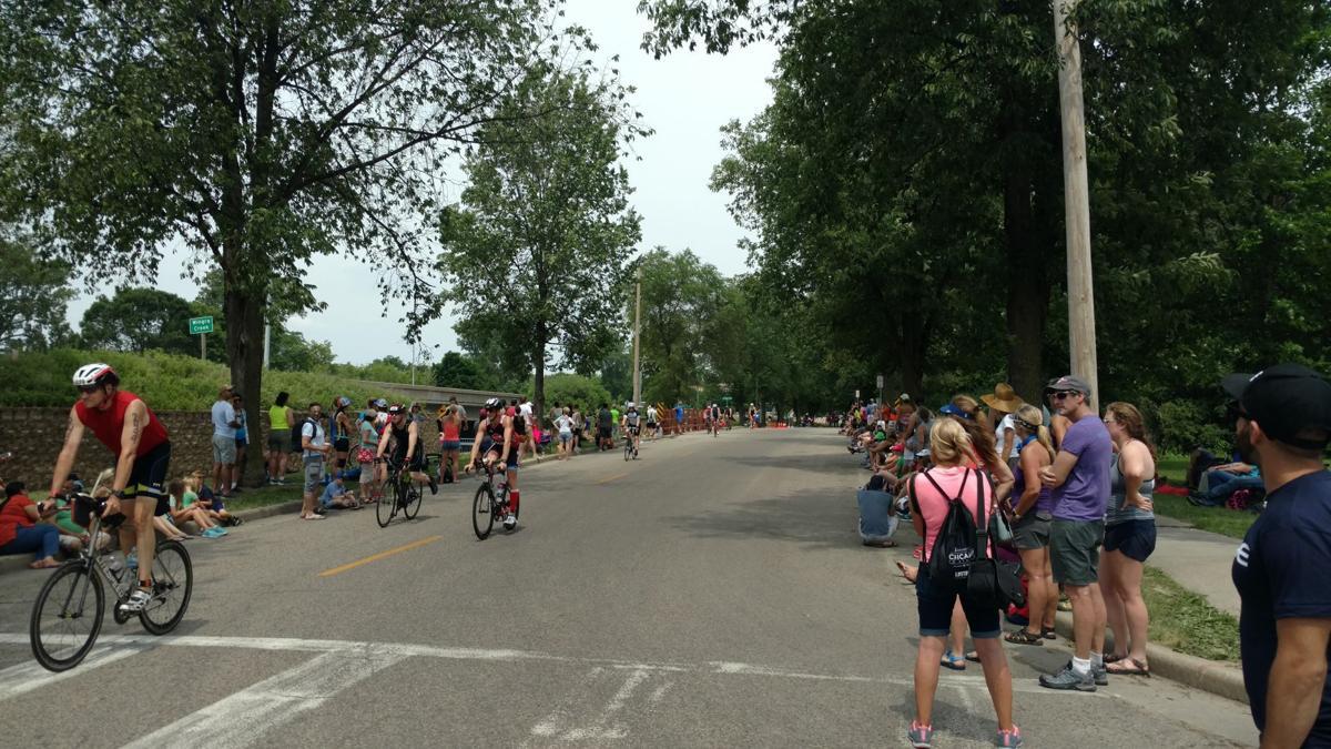 Ironman 70.3 bikers finish up