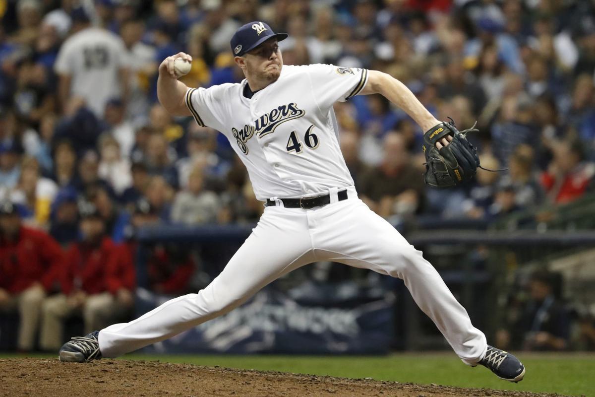 Corey Knebel pitching, AP file photo