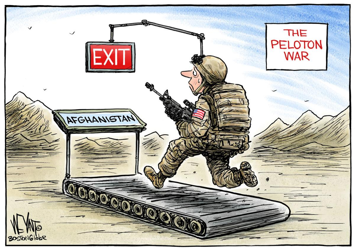 Afghanistan has become the Peloton war, in Christopher Weyant's latest political cartoon | Opinion | Cartoon | madison.com