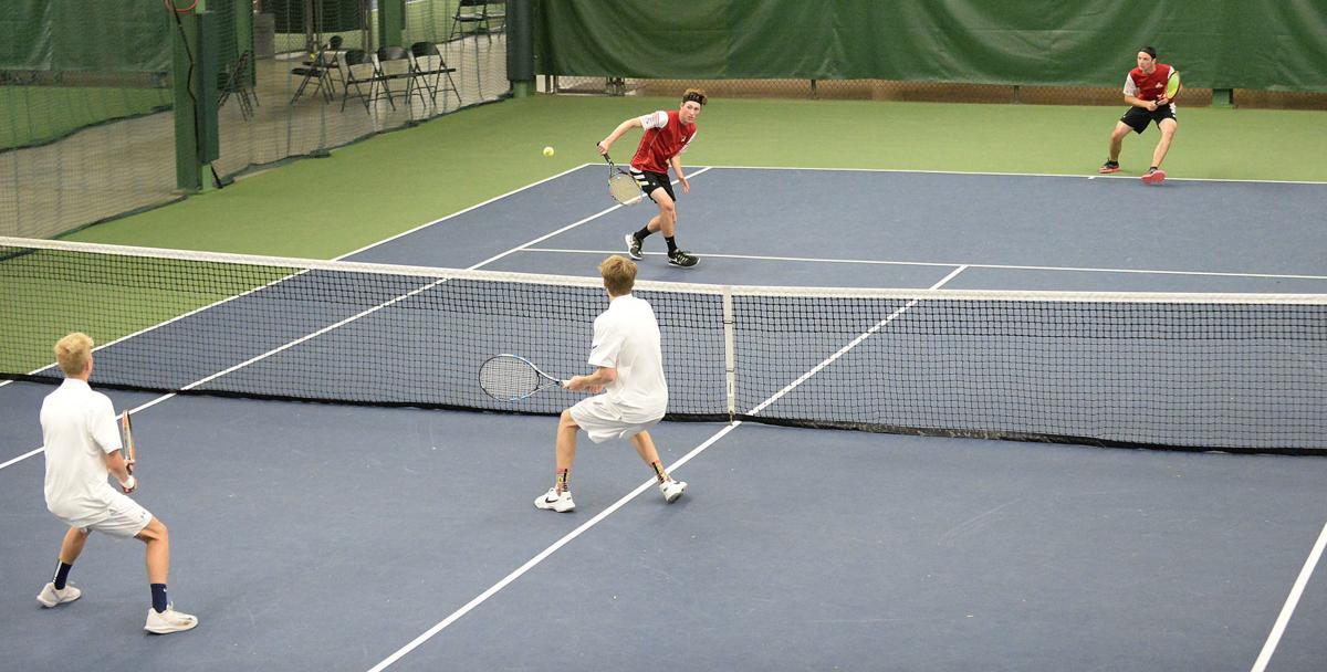 WIAA boys tennis photo: Monona Grove's Nelson and Munz meet Sauk Prairie's Wankerl and Mack