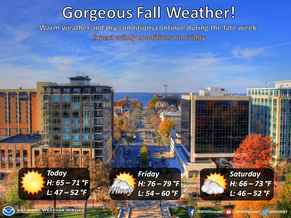 National Weather Service forecast graphic 10-8-20