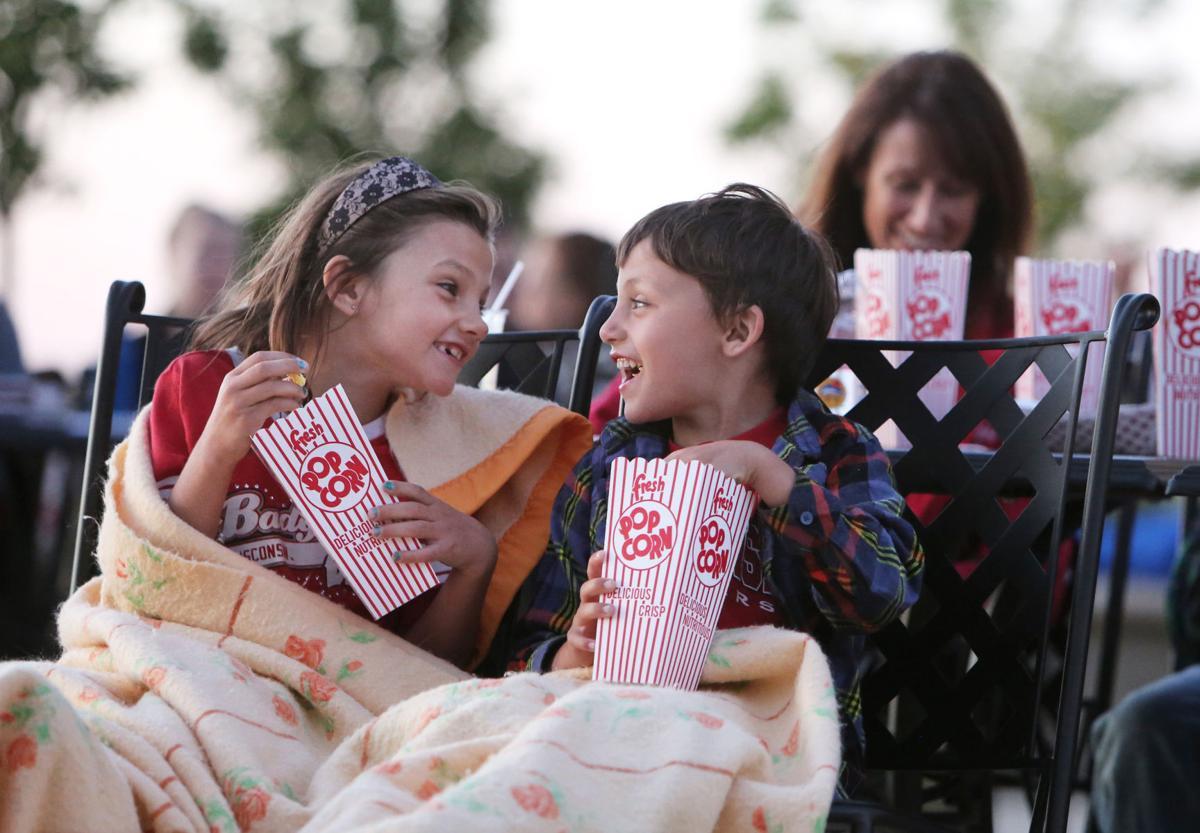 Popcorn on the plaza at Edgewater movie night