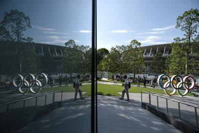 Tokyo Olympics rings, National Stadium, AP generic file photo