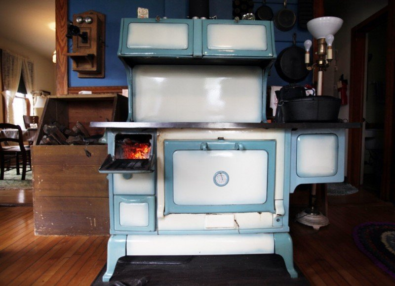 Woodstove cooking, front