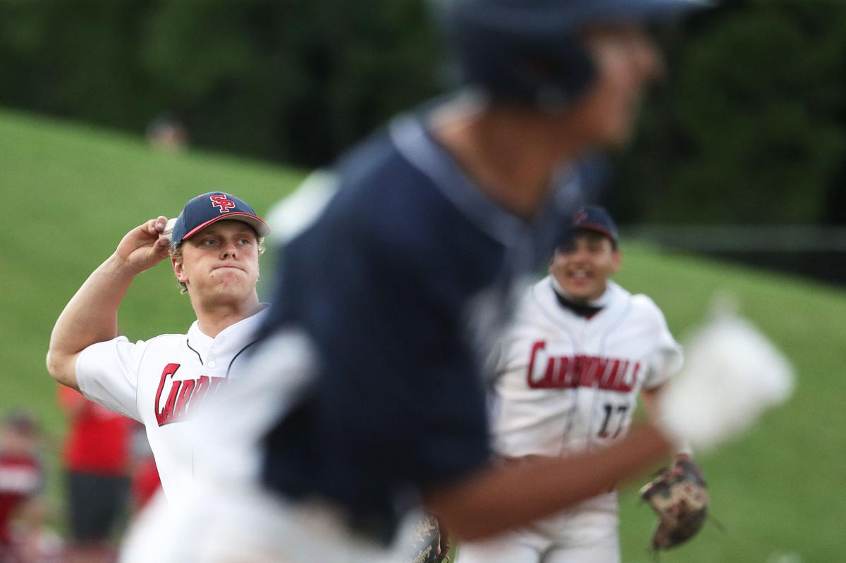 Prep baseball photo: Josh Caron throws out Carl Cano for final out in state championship game