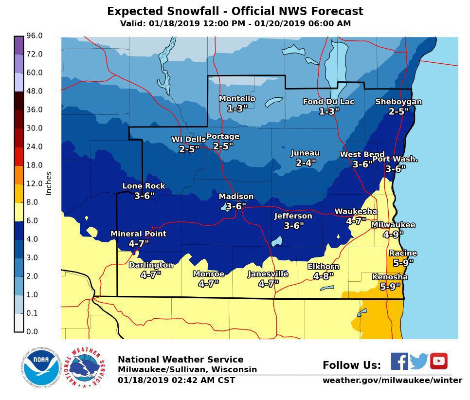 Snow Storm Weather Map.Major Snowstorm Heading For Southern Wisconsin See How Much May
