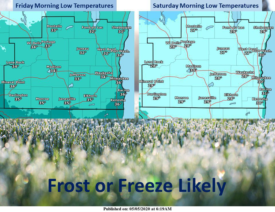 Lows Friday, Saturday from National Weather Service
