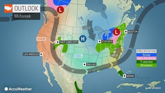 Midweek outlook by AccuWeather