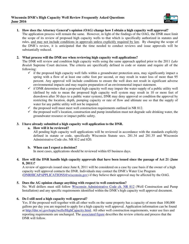 DNR FAQ on well permitting