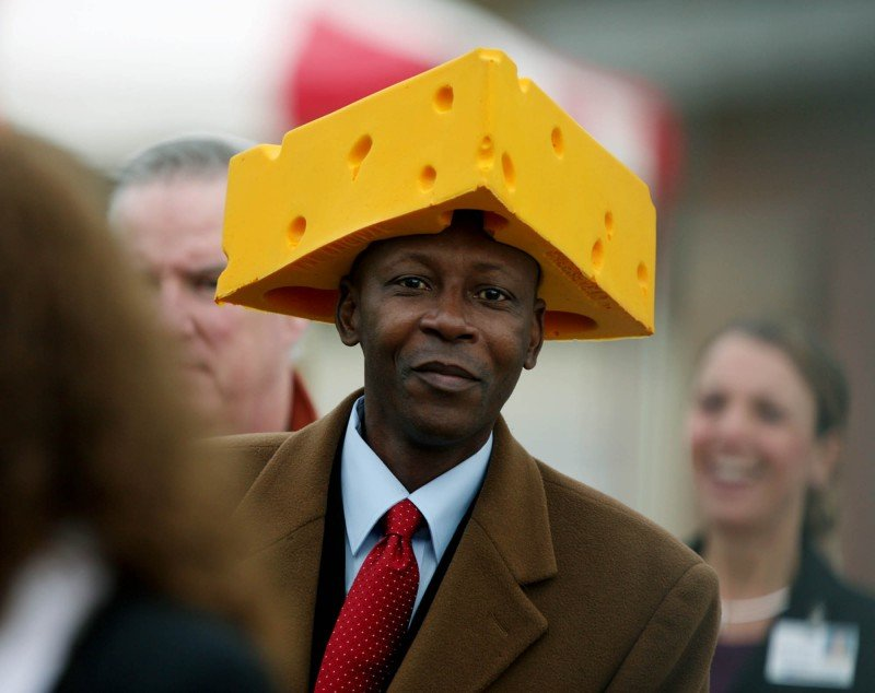 OBAMA WRIGHT Cheesehead hat