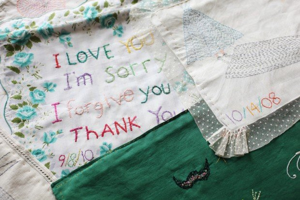 Leslee Nelson's memory cloth for her mother