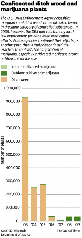 Confiscated Ditch Weed and Marijuana Graphic