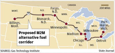 Alternative fuel corridor map