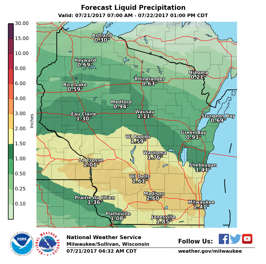 National Weather Service forecast rainfall 7/21-22/17