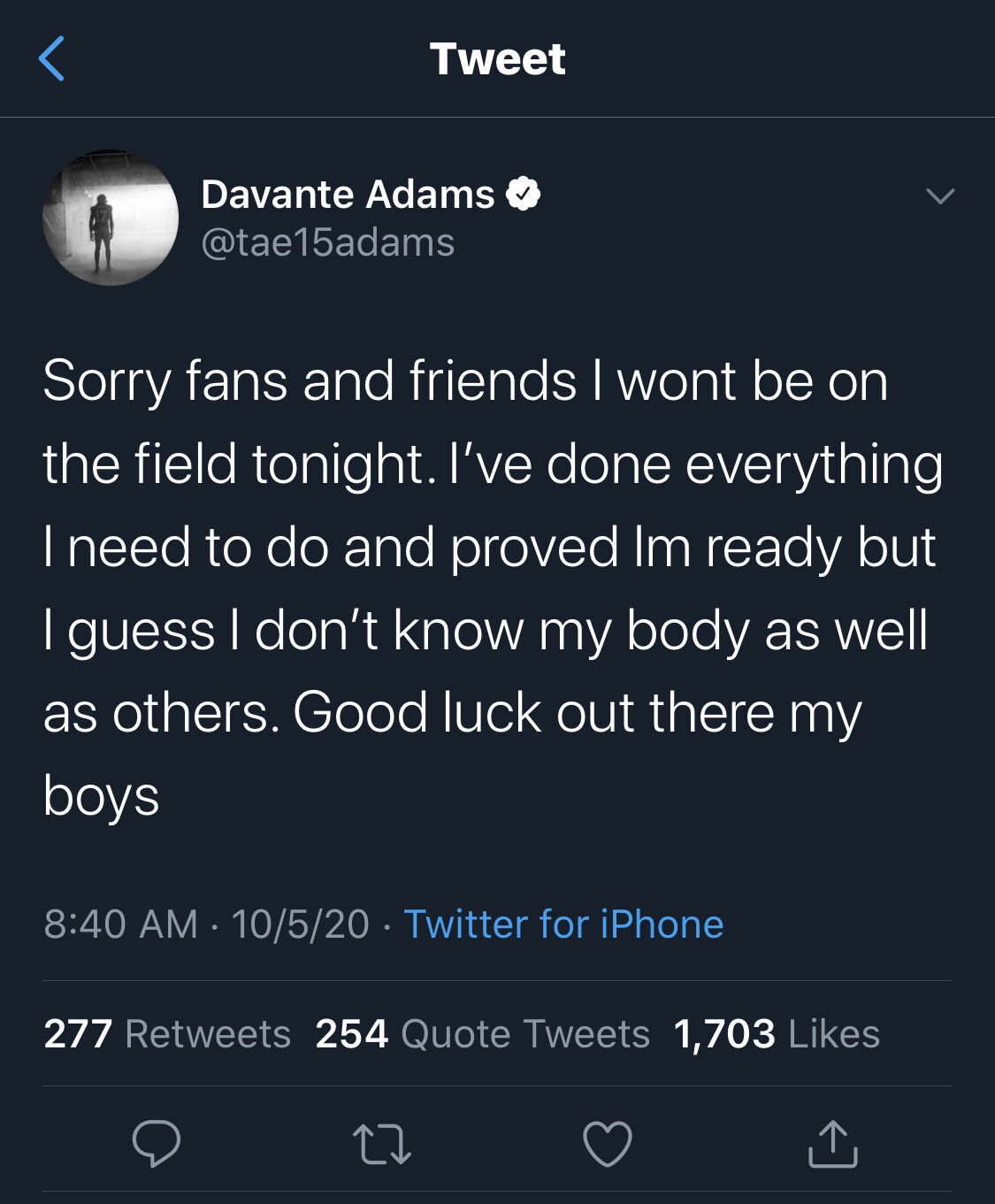 Davante Adams tweet not playing against Falcons