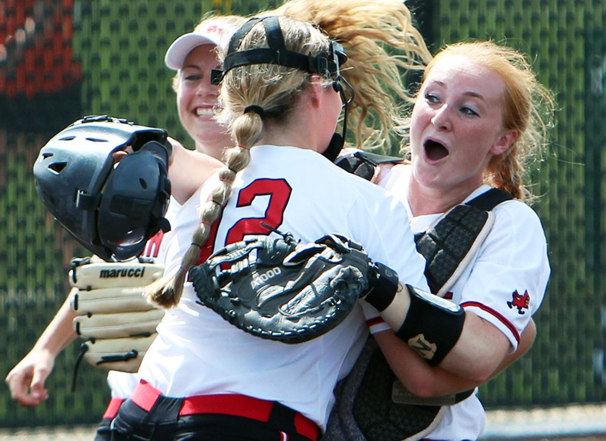 WIAA state softball photos: Sun Prairie's battery all charged up over another trip to the state final