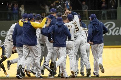 Dodgers Brewers - Travis Shaw celebration