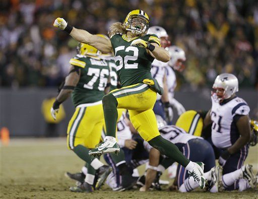 4eae02e9071 Green Bay Packers' Clay Matthews celebrates after the New England Patriots  missed a field goal attempt during the second half of an NFL football game  Sunday ...