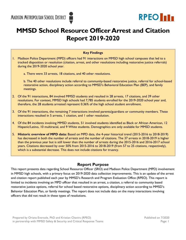2019-20 School Resource Officer report