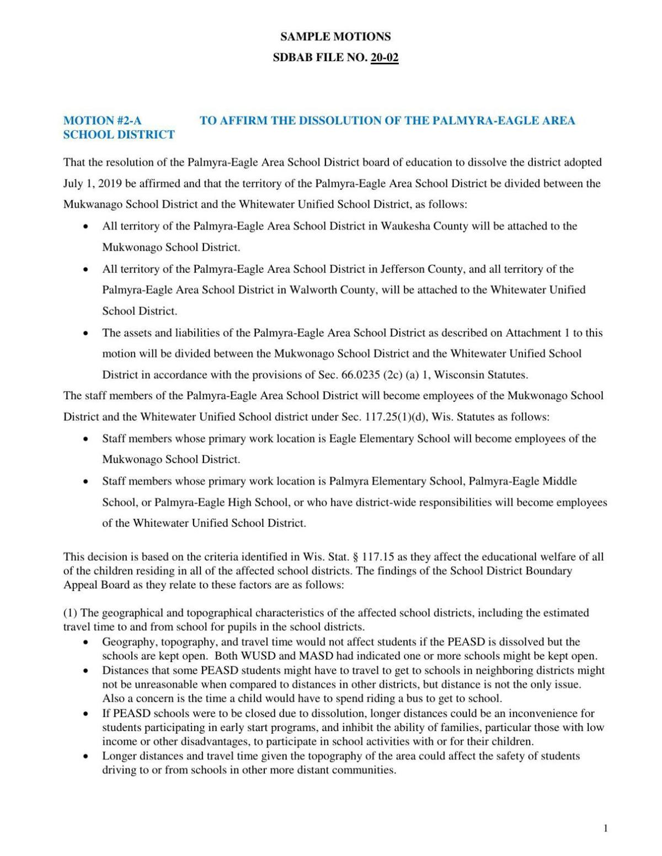 Palmyra alternate motions