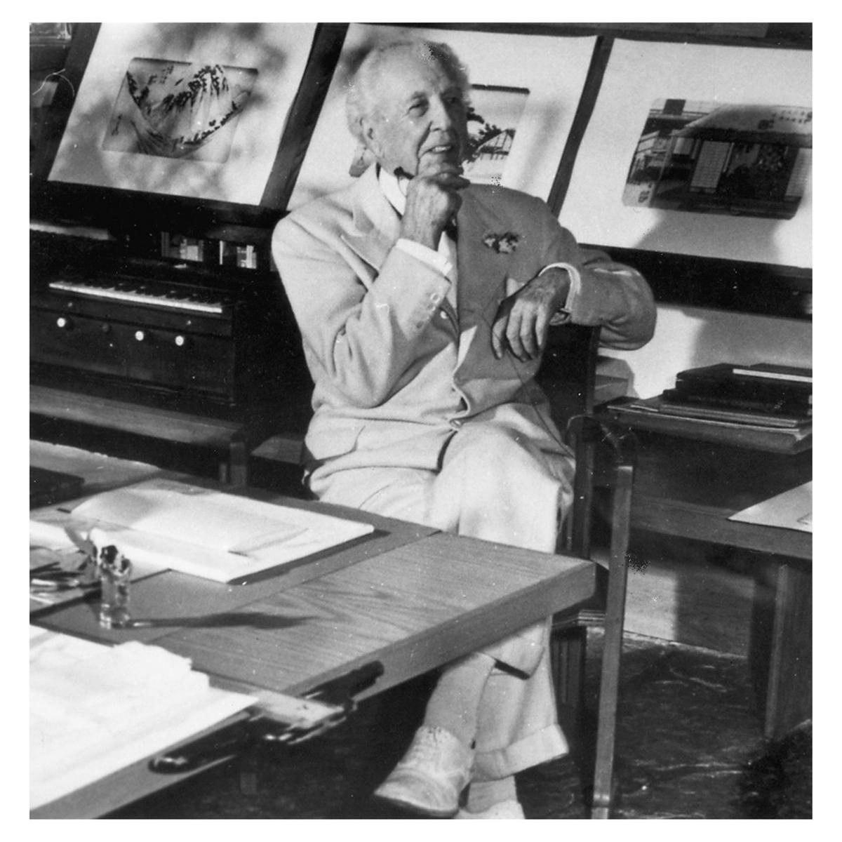 Frank Lloyd Wright in studio