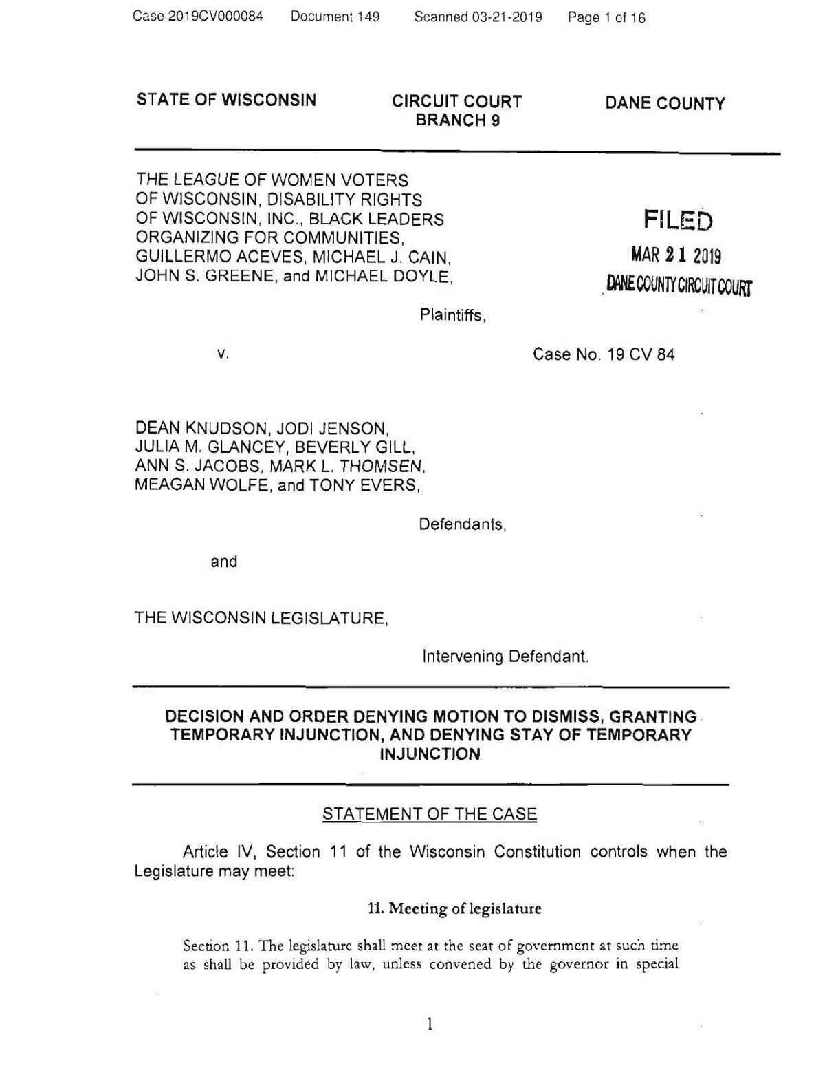 Read Judge Richard Niess' order