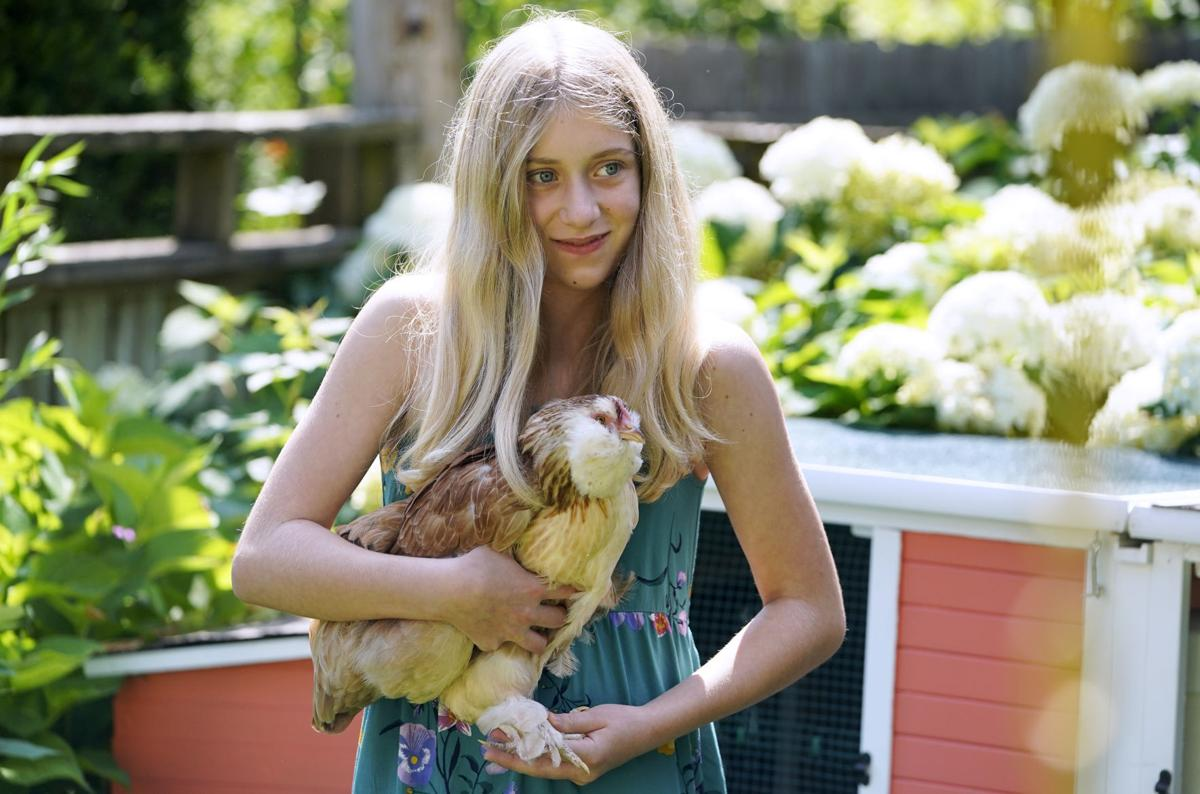 Pippa with chicken