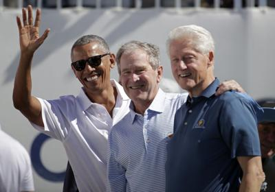 Barack Obama, George Bush, Bill Clinton, President's Cup, AP photo