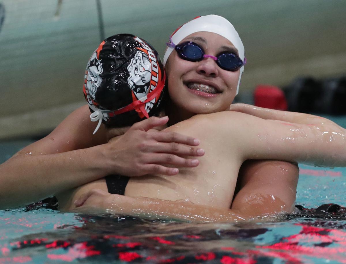 WIAA state girls swimming: Sun Prairie's Sophie Fiske celebrates her state championship in the 50-yard freestyle