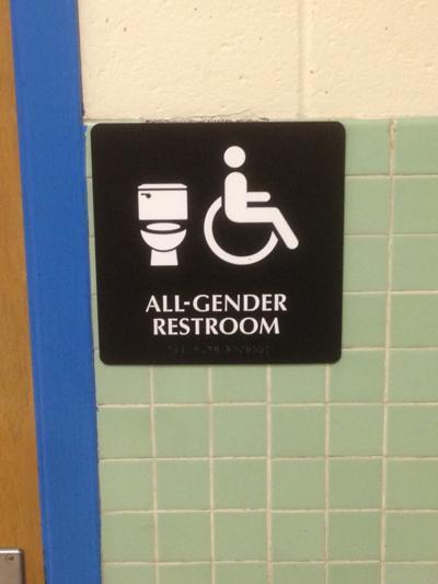 All-gender bathroom signage