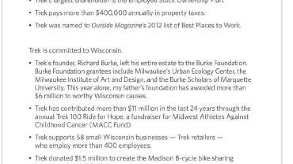 Wisconsin GOP files complaint over Trek ad   Politics and Elections