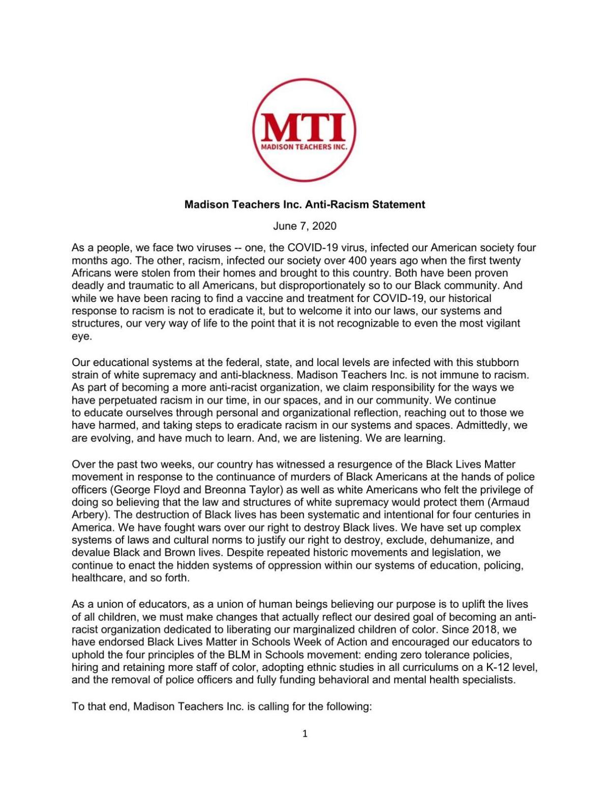 MTI statement on SROs