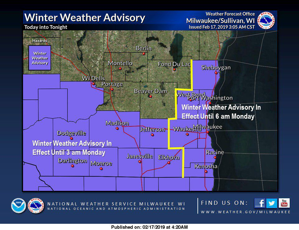 Snowy Sunday for southern Wisconsin, more snow coming later