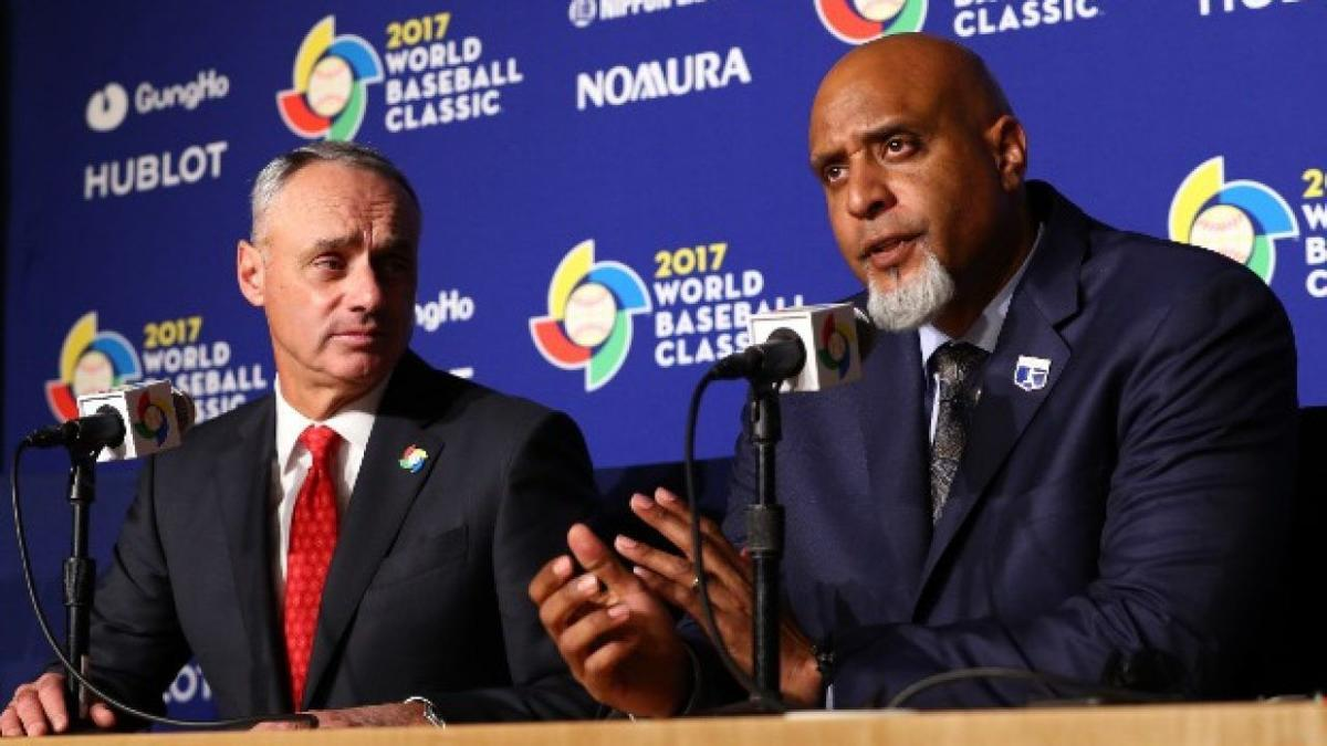 Rob Manfred, Tony Clark, AP generic file photo