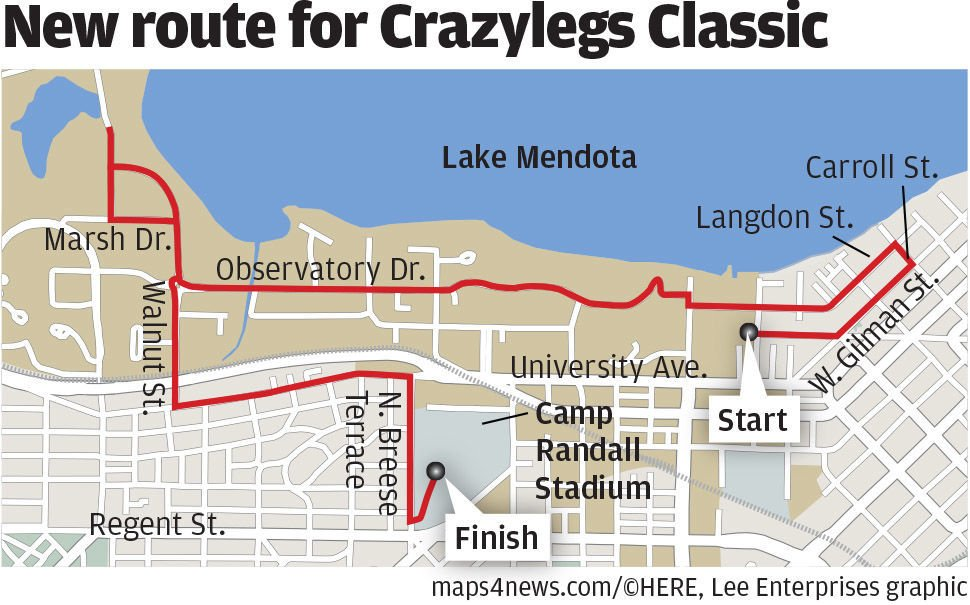 New route for Crazylegs Classic