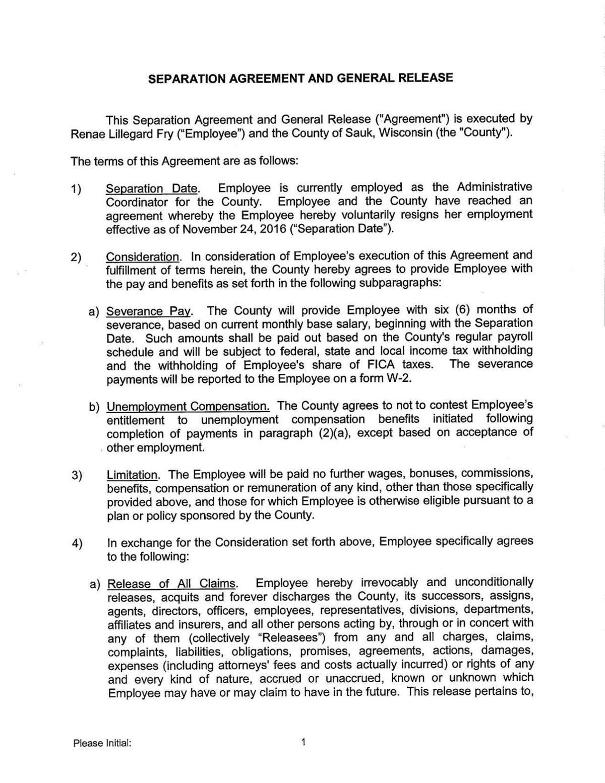 November 3 Separation Agreement Offer Madison