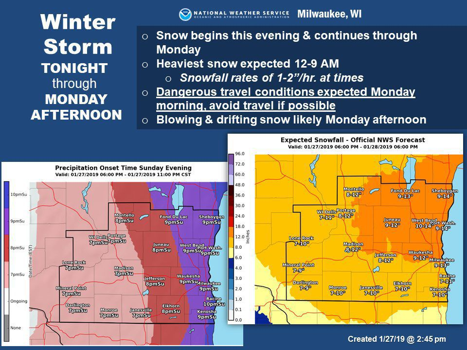 Winter storm pummeling southern Wisconsin into Monday, life