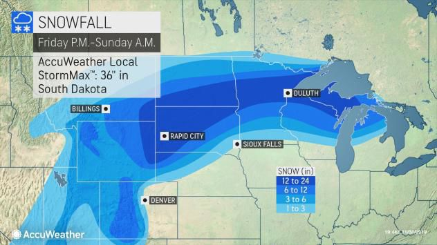 Storm snow totals Friday-Sunday by AccuWeather