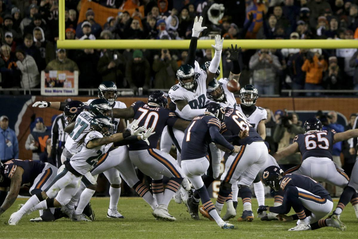 Cody Parkey tipped field goal, Bears lose, AP photo