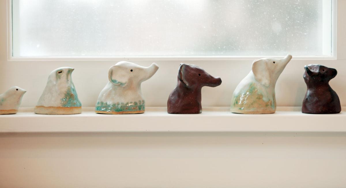Windowsill sculptures in Kevin Henkes' studio