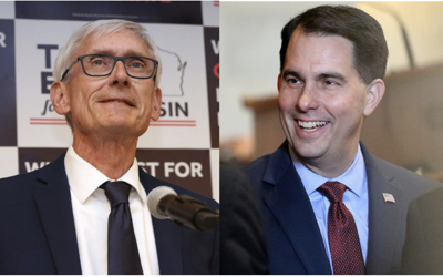 Tony Evers, Scott Walker