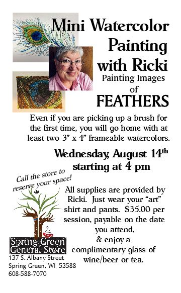 Ricki Bishop's Watercolor Workshop, August 14th